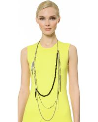 Iosselliani - Metallic Layered Necklace - Palladium/Black - Lyst