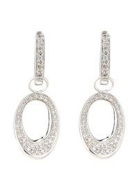 KC Designs - Metallic 14k Diamond Pave Oval Earrings - Lyst