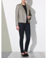 John Lewis - Gray Zip Front Leather Jacket - Lyst