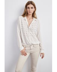 Velvet By Graham & Spencer - White Ursa Nailhead Embroidered Blouse - Lyst