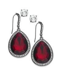 INC International Concepts | Hematite-tone Red Stone And Pave Edge Teardrop And Round Clear Crystal Stud Earring Set | Lyst