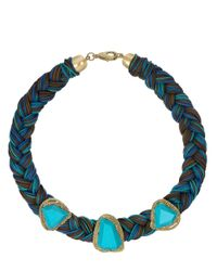 Sam Edelman - Blue Braided Necklace With Turquoise-Colored Gemstones - Lyst