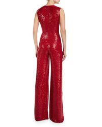 Naeem Khan - Red Sleeveless V-neck Sequin Jumpsuit - Lyst