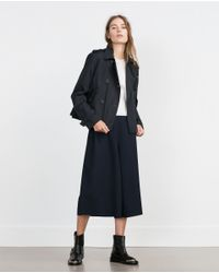 Zara | Blue Short Trench Coat | Lyst