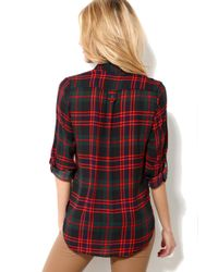 AKIRA | Red Sheer Plaid Tunic Top | Lyst