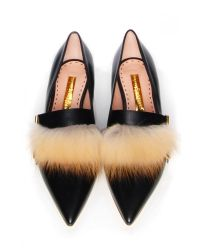 Rupert Sanderson Black Ralph Flat With Fox Fur