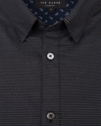Ted Baker | Black Bigidea Micro Dobby Shirt for Men | Lyst