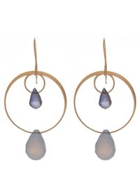 Melissa Joy Manning | Metallic Gold Blue Chalcedony Two Drop Earrings | Lyst
