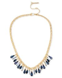 Kenneth Cole | Gold-tone Blue Crystal Shaky Necklace | Lyst