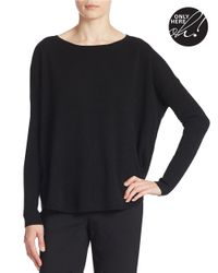 Lord & Taylor Black Plus Curved Hem Cashmere Sweater