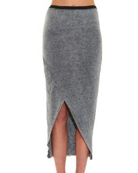 IRO Gray Geralda Wrap-Front Jersey Skirt