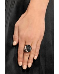 Givenchy Metallic Chevalière Ring In Gold And Ruthenium-Tone And Portoro Marble