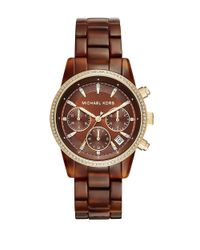 Michael Kors | Brown Ritz Amber-tortoise Acetate Bracelet Chronograph for Men | Lyst