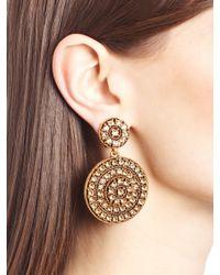 Oscar de la Renta | Metallic Golden Swarovski Crystal Pavé Disk Earrings | Lyst