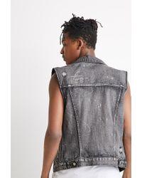Forever 21   Black Distressed Paint-flecked Denim Vest for Men   Lyst