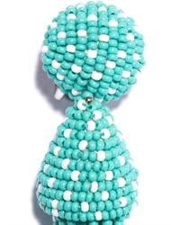 Oscar de la Renta - Blue Polkadot Beaded Tassel Earrings - Lyst