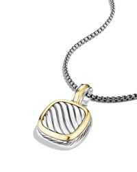 David Yurman Metallic Sculpted Cable Small Square Pendant With Gold