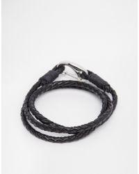 Seven London - Black Wraparound Plaited Bracelet for Men - Lyst