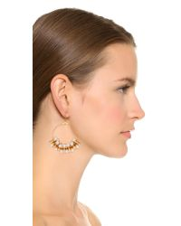 Kenneth Jay Lane - Metallic Imitataion Pearl Hoop Earrings - Gold/pearl - Lyst
