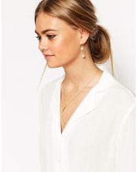 ASOS | Metallic Pack Of 2 Faux Pearl Through Earrings | Lyst