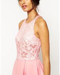 ASOS | Pink Tall Lace Top Scuba Skater Midi Dress | Lyst