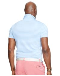 Polo Ralph Lauren Blue Big & Tall Striped Performance Polo Shirt for men