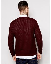 ASOS - Cable Knit Jumper With Rib Detail - Red for Men - Lyst