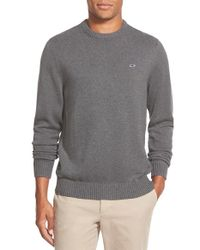 Vineyard Vines | Gray 'whale' Classic Fit Cotton Crewneck Sweater for Men | Lyst