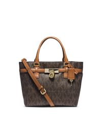 Michael Kors | Brown Hamilton Traveler Medium Logo Tote | Lyst