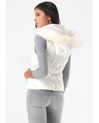 Bebe | Natural Logo Hooded Puffer Vest | Lyst