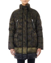 Moncler Gamme Rouge Green Camo-print Quilted Down Coat