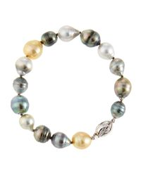 Belpearl Multicolor Mixed Tahitian And South Sea Pearl Beaded Bracelet