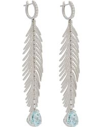 Sidney Garber - Blue Aquamarine Diamond Feather Drop Earrings - Lyst