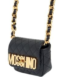 Moschino Metallic Quilted Nappa Leather Micro Shoulder Bag
