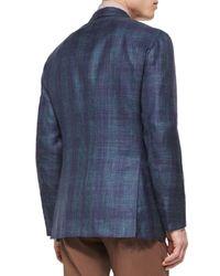Kiton | Blue Cashmere-blend Plaid Sport Coat for Men | Lyst