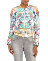 Maje | Multicolor Printed Silk Bomber Jacket | Lyst