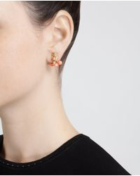 Yvonne Léon Pink 18K Gold And Coral Owl Stud Earring