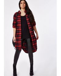 Missguided | Red Plus Size Checked Maxi Shirt | Lyst