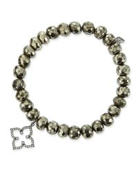 Sydney Evan Metallic Champagne Pyrite Beaded Bracelet With 14K Gold/Diamond Small Butterfly Charm (Made To Order)