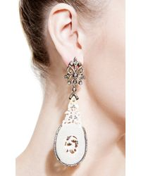 Bochic - Carved Mammoth and Diamond Earrings in Black and White - Lyst