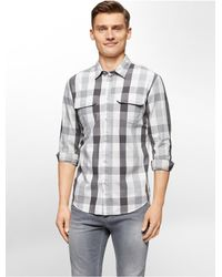 Calvin Klein | Gray Jeans Slim Fit Gingham Print Shirt for Men | Lyst