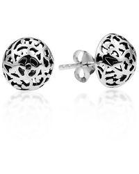 Aeravida | Metallic Filigree Swirl Dome Sterling Silver Post Earrings | Lyst