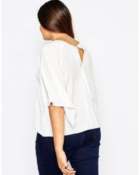 ASOS | White Woven T-shirt With Kimono Sleeve | Lyst