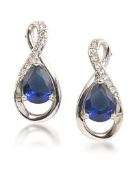 Carolee | Metallic Crystal Stems Infinity Blue Stone Earrings | Lyst