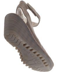 Fly London | Natural Yala Wedge Sandal Perforated Khaki Suede | Lyst