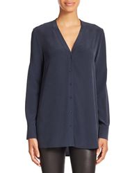 VINCE | Blue Silk V-neck Blouse | Lyst
