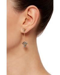 Noor Fares Metallic Geometry 101 Octahedron Drop Earrings
