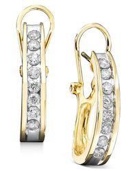 Macy's | Diamond Hoop Earrings In 10k Yellow Or White Gold (1 Ct. T.w.) | Lyst