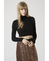 TOPSHOP Black Ribbed Roll Neck Crop Top