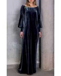 Luisa Beccaria - Blue Off The Shoulder Velvet Gown - Lyst